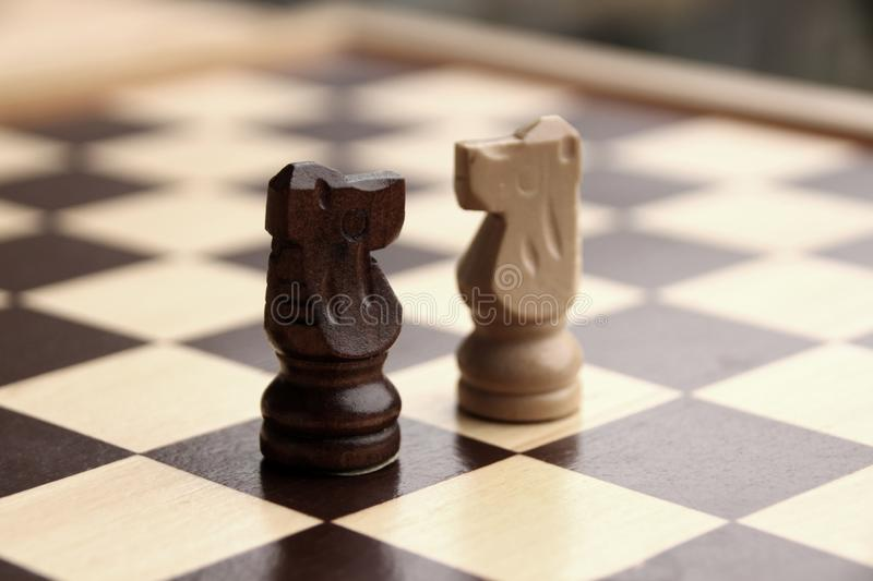 Wooden pieces, chess horses, white and dark brown on a chessboard, game concept stock photography