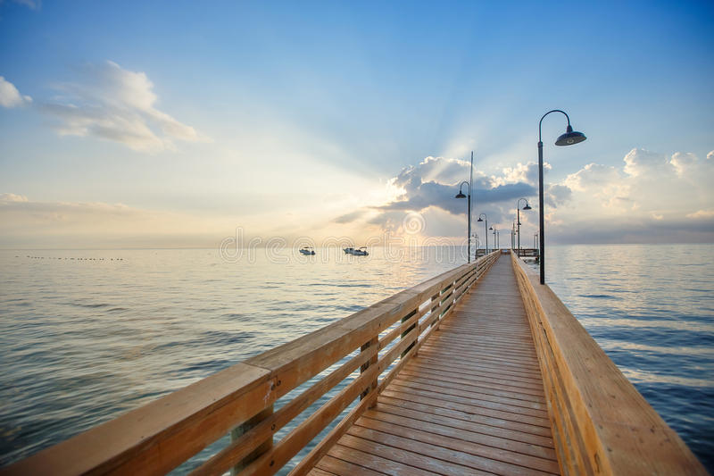 Wooden pier and boardwalk over ocean. In the Florida Keys royalty free stock photo