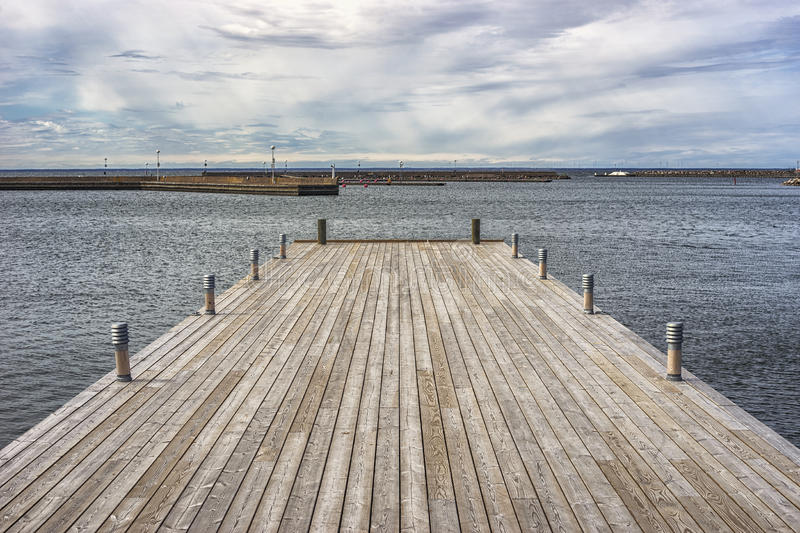 Wooden Pier in Borgholm, Sweden.  royalty free stock photo