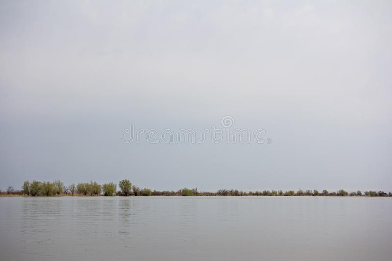 Wooden pier on the Danube River. Spring on Danube river. Flooded trees in the green meadow over the banks of the Danube river in early spring. Danube natural royalty free stock photos