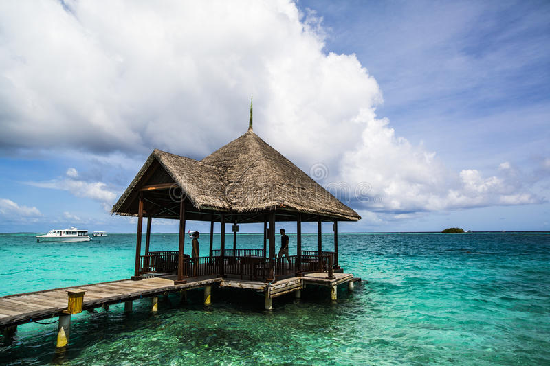 Download Wooden Pier And Dock, Indian Ocean, Maldives Stock Photo - Image of republic, resort: 75986134