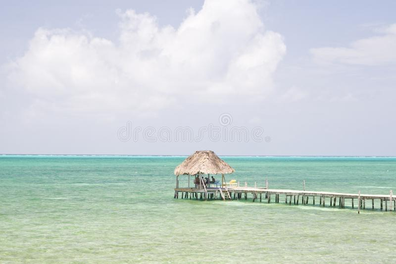 Wooden pier house, Caye Caulker royalty free stock images