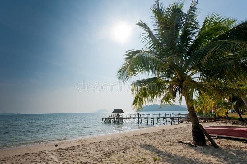 A wooden pier on the island. A wooden pier on the island of Koh Chang, Thailand stock photography