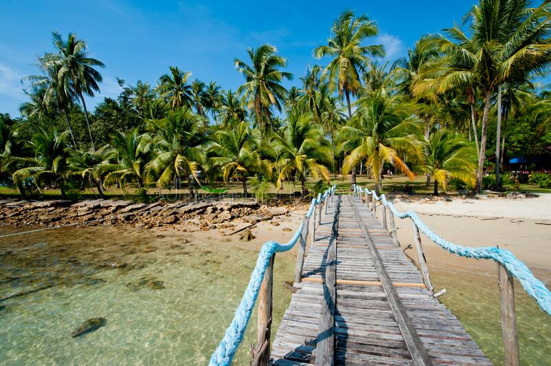 A wooden pier on the island. A wooden pier on the island of Koh Chang, Thailand royalty free stock image