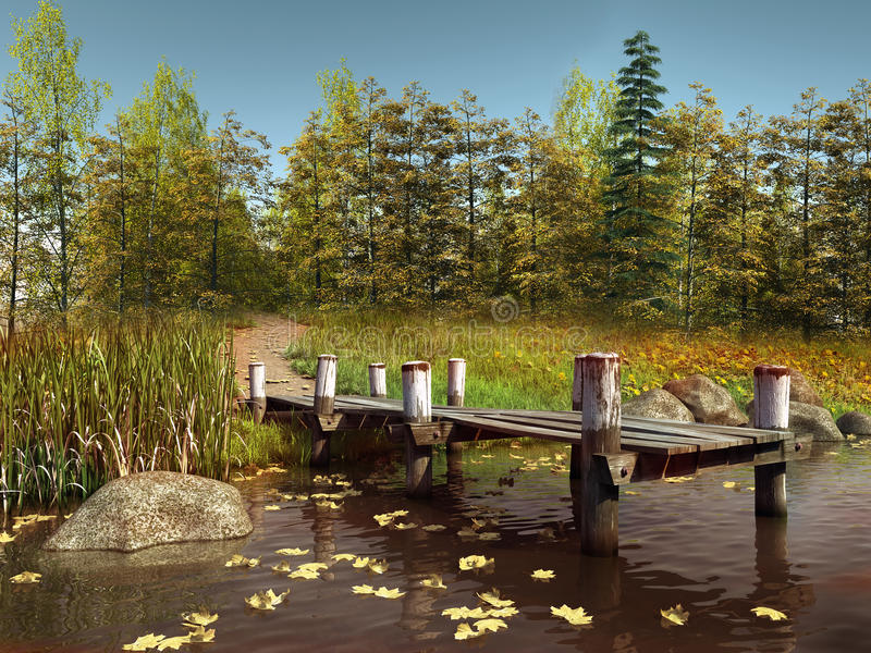 Wooden pier on a lake with leaves stock illustration