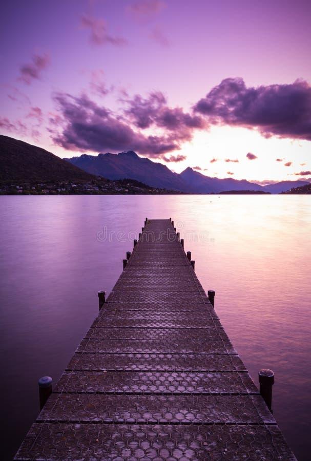 Wooden pier on Lake stock image