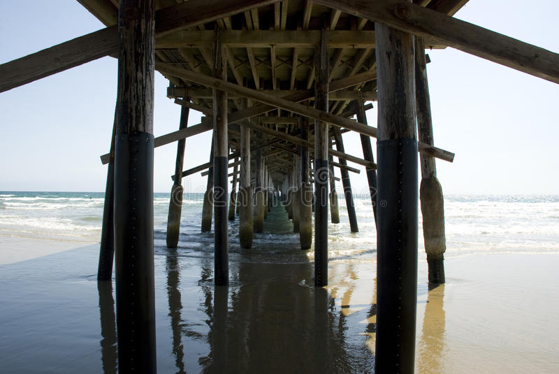 Wooden pier of Newport Beach in Orange County, California. USA royalty free stock image