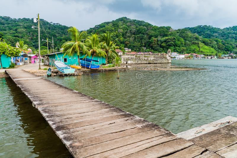 Wooden pier in Portobelo, Pana stock images
