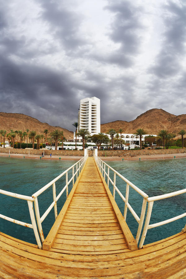 The wooden pier on Red sea in Eilat royalty free stock photos