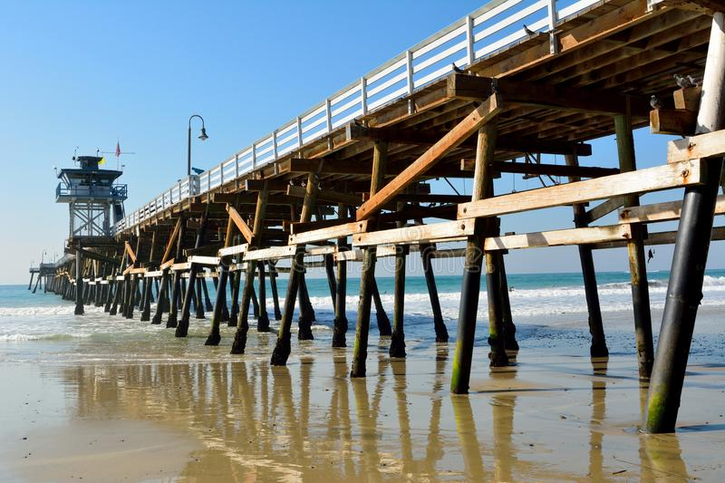 Wooden pier in San Clemente, CA. Wooden pier in San Clemente, California royalty free stock photos