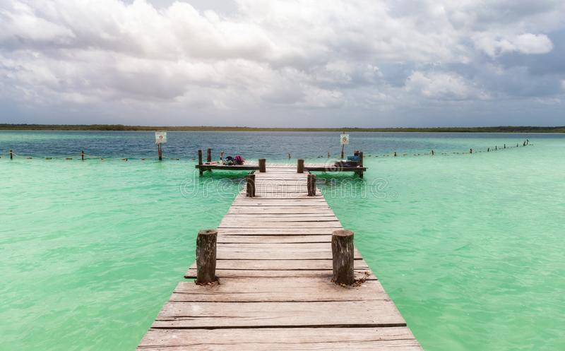 Wooden pier on the Sian Kaan lagoon royalty free stock photography
