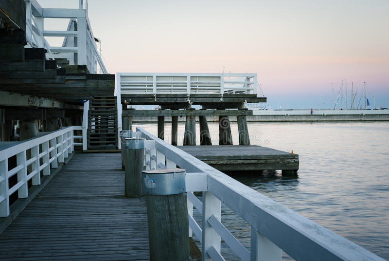 Wooden pier in Sopot. In the evening, Pomeranian, Poland stock photo