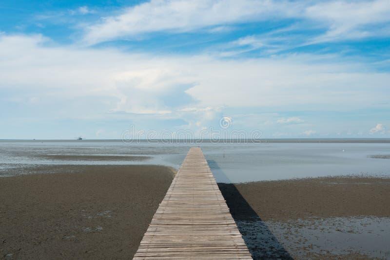 Wooden pier at wetlands in Samutsakorn, Thailand. Wooden pier at wetlands in Samutsakorn, Thailand stock photo