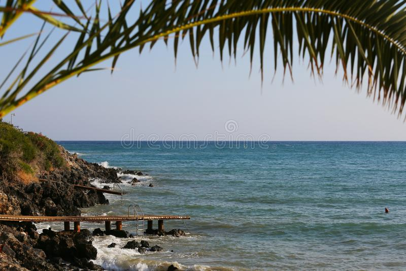 Wooden piers. At Stalida, Crete, Greece royalty free stock photos