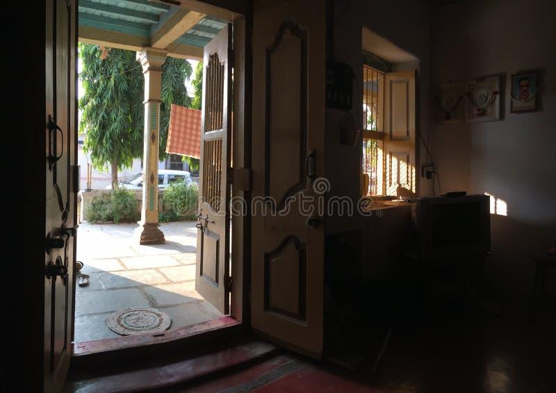 Wooden pillar beam door door frame of old house at Kukadi near Idar Sabarkantha North Gujara royalty free stock images