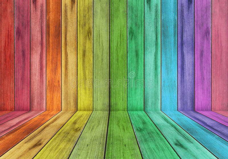 Wooden plank with rainbow colour background stock photography