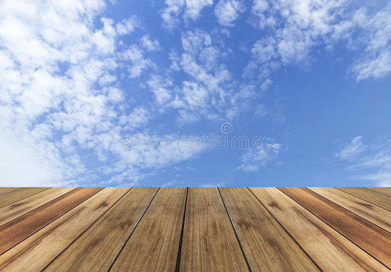 Wooden plank with sky background royalty free stock photography