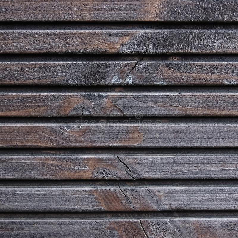 Wooden Plank Terrace Board, Black, Grey Wood Tar Paint Texture Detail, Large Old Aged Dark Gray Detailed Cracked Timber Rustic. Macro Closeup Pattern, Blank stock photo