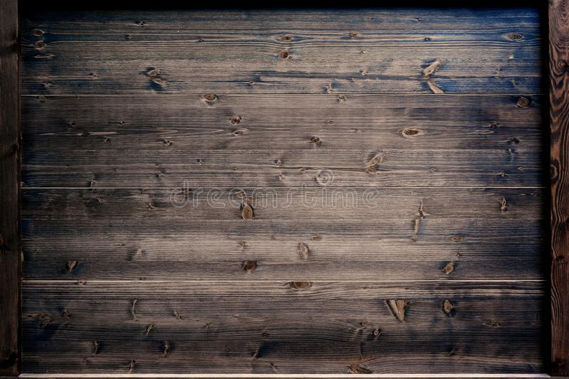 Wooden plank. Wood texture in a frame. Empty copy space stock photography