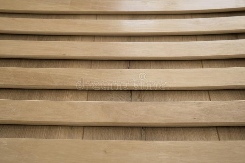 Wooden planks on the bottom of double floor bed stock images