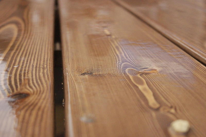 The wooden planks in the rain stock photography