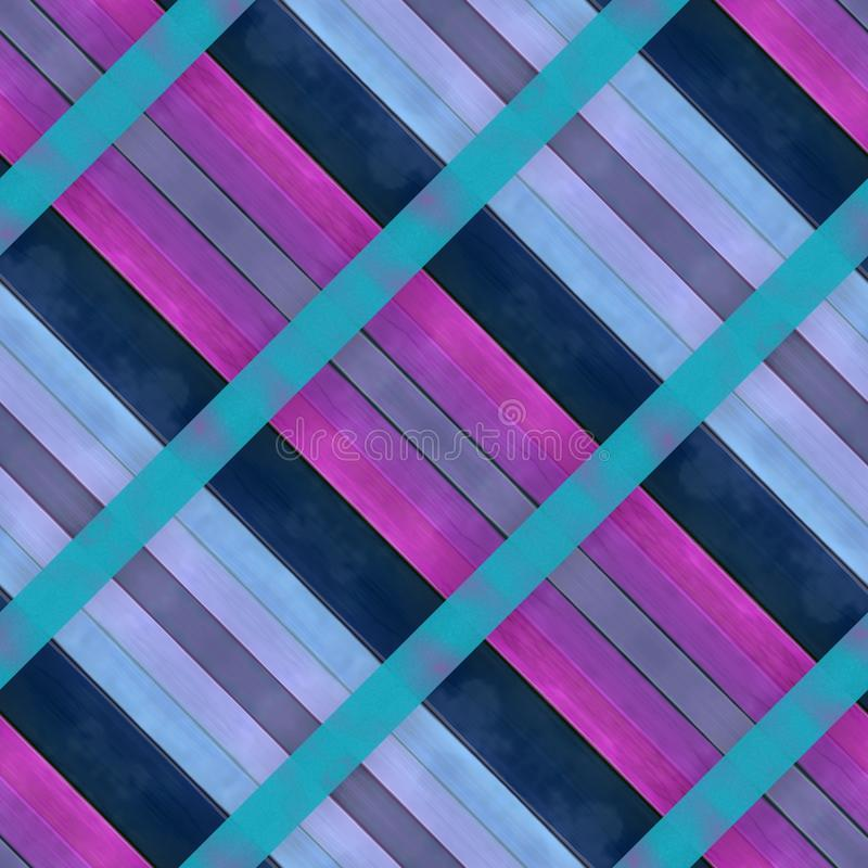 Wooden planks texture - Seamless colorful digitally rendered fractal pattern. Oblique stripes of pink purple blue shades royalty free illustration