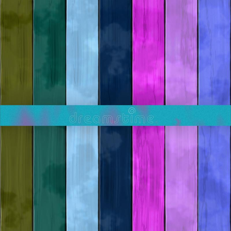 Wooden planks texture - Seamless colorful digitally rendered fractal pattern. Olive green blue pink turquoise shades vector illustration