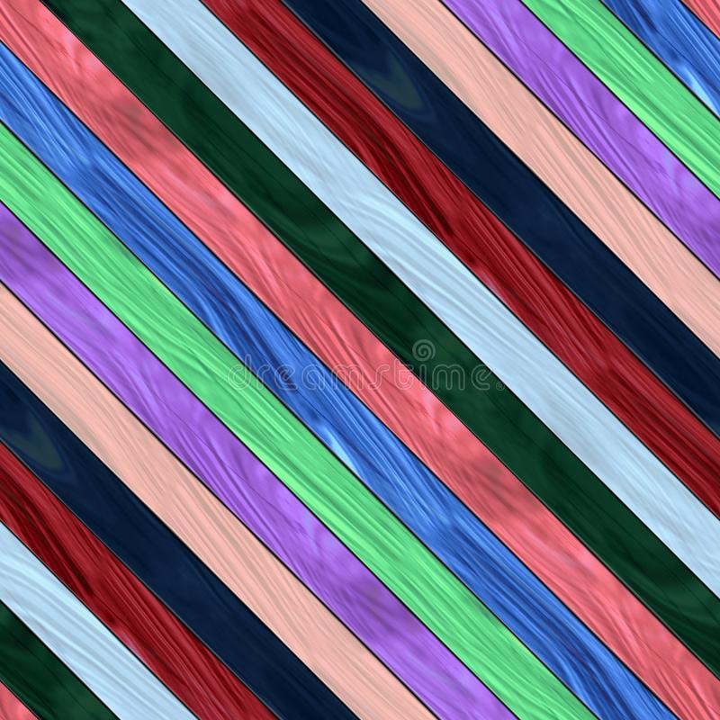 Wooden planks texture - Seamless colorful digitally rendered fractal pattern. White red blue pink purple green blue boards royalty free illustration