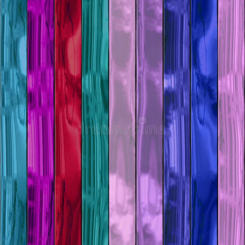 Wooden planks texture - Seamless colorful digitally rendered fractal pattern. Blue pink turquoise red purple painted boards royalty free illustration
