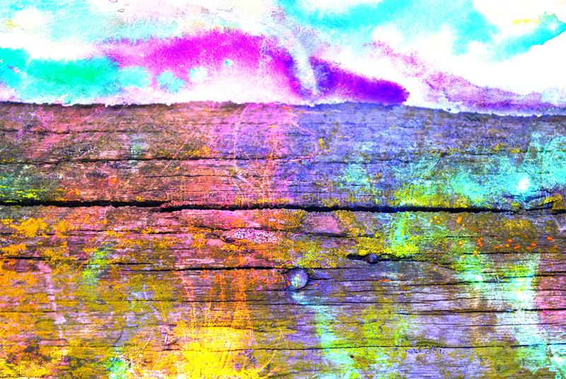 Mixed media artwork, abstract colorful artistic painted layer in pink, blue, green color palette on grunge wooden plank royalty free stock photography