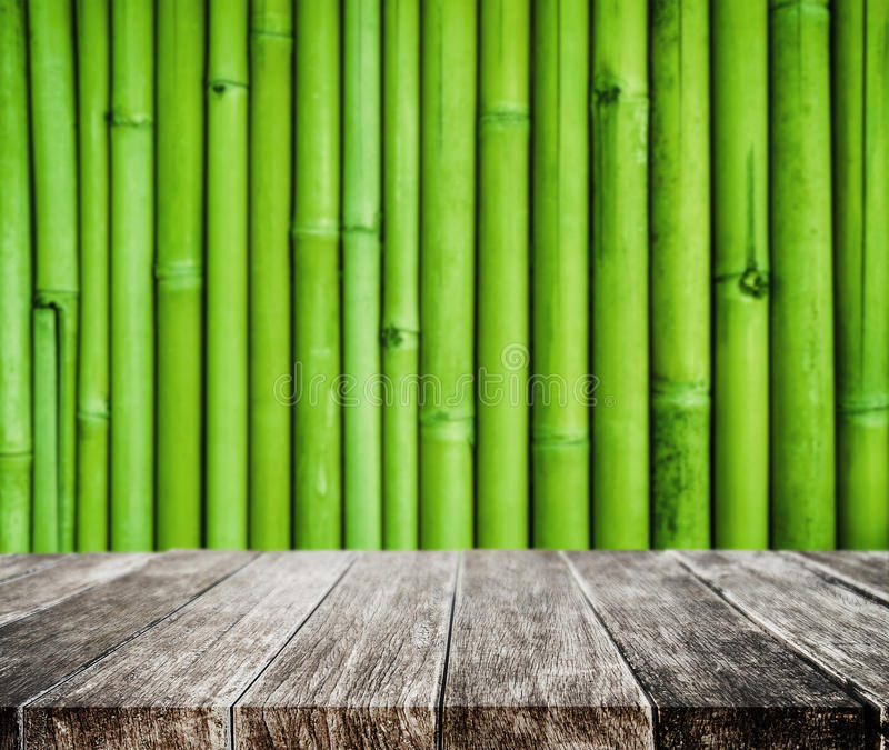 Wooden platform and bamboo texture background stock photography