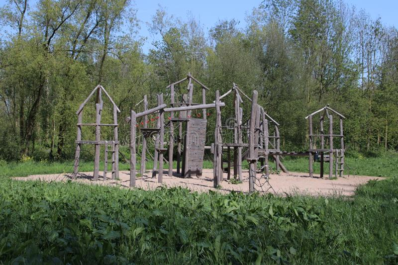 Wooden playing tools on playground in park Hitland in Nieuwerkerk aan den IJssel royalty free stock photos