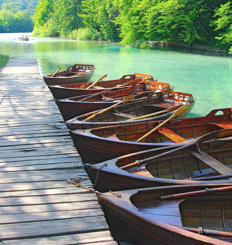 Wooden pleasure boats on the lake. Plitvice. Croatia royalty free stock images