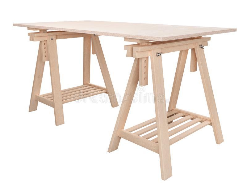 Wooden plywood shelf on two trestles, isolated on white background, 3d rendering royalty free illustration