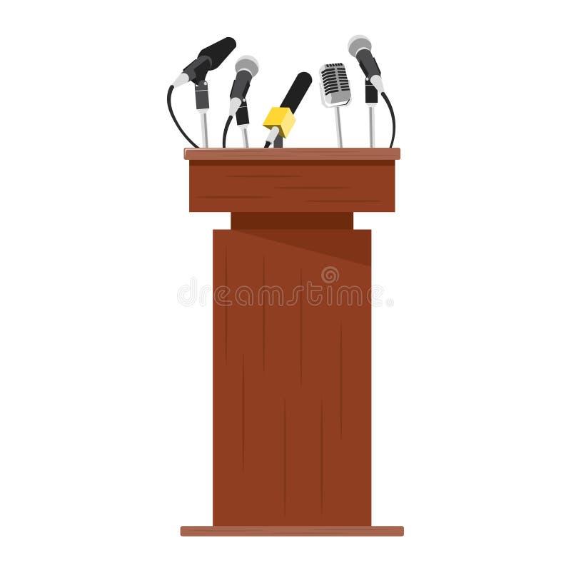 Wooden podium tribune with microphones. royalty free illustration