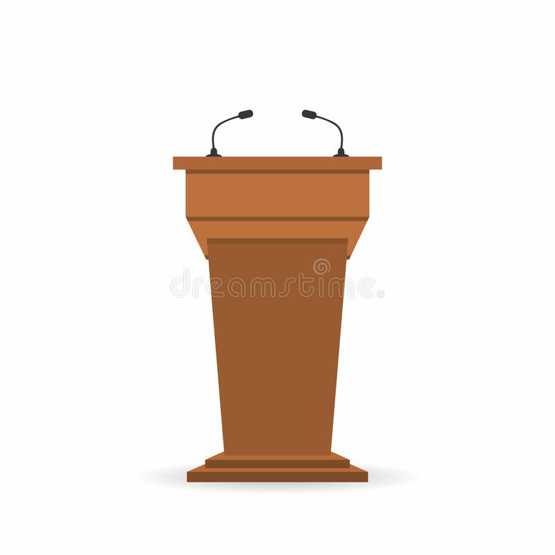 Wooden podium tribune stand rostrum with microphones. Back view from audiences side stock illustration