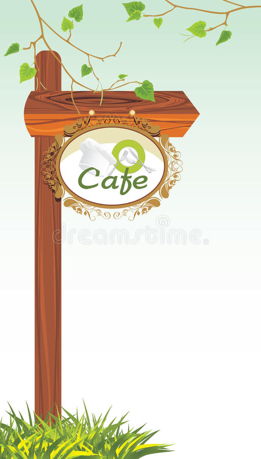 Wooden Pointer Of A Location Cafe Royalty Free Stock Photos