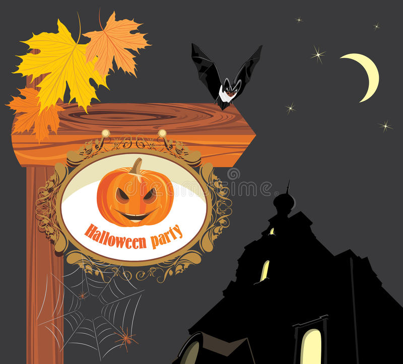 Wooden pointer of a location Halloween party stock illustration