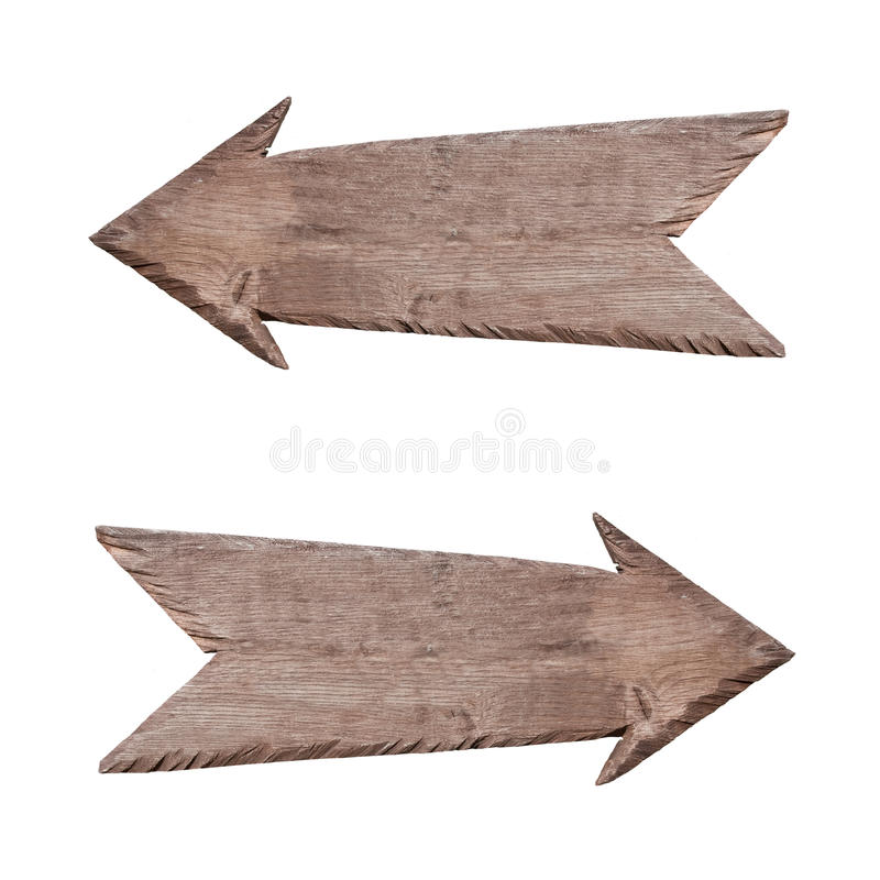 Wooden pointer to the right and left stock images