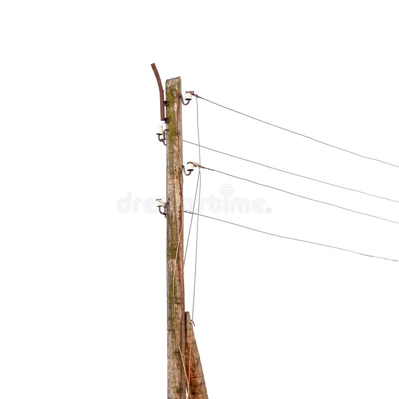 Free Wooden Pole With Electrical Wires. Isolated On White Background. Stock Images - 127093654