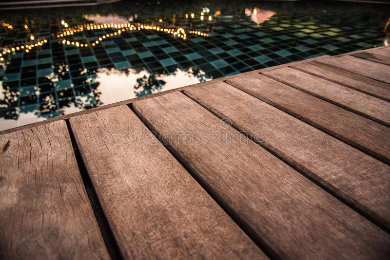 Download Wooden Pool Terrace In Evening Time Stock Image   Image Of Night,  Summer: