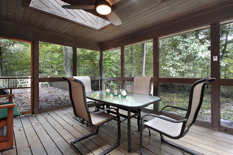 Wooden porch with skylights. And outside deck royalty free stock photo