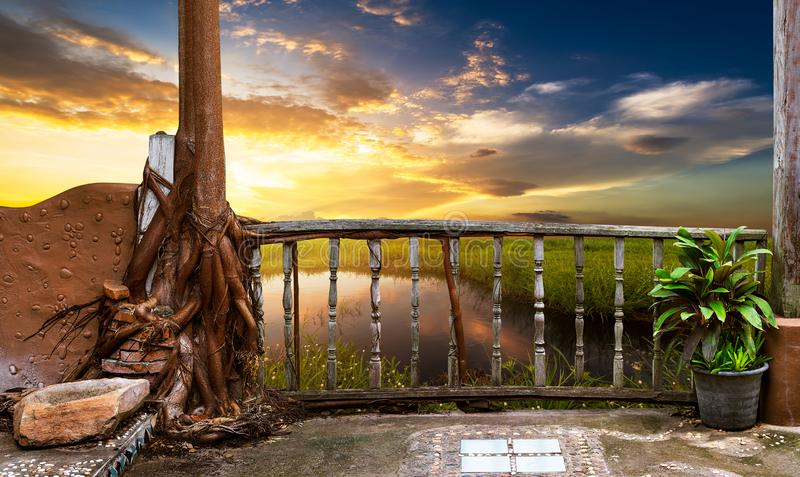 Wooden porch at view point stock photography