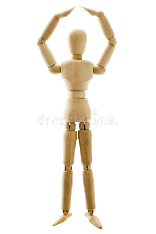 Wooden pose puppet. On white background, close-up stock images