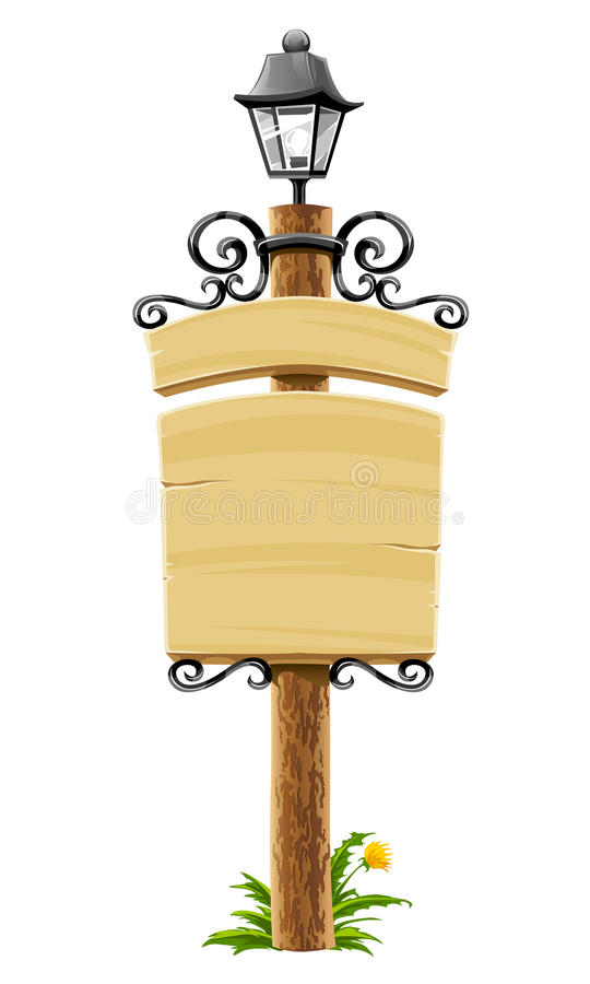 Free Wooden Post With Signboard And Lantern Royalty Free Stock Photos - 13077758
