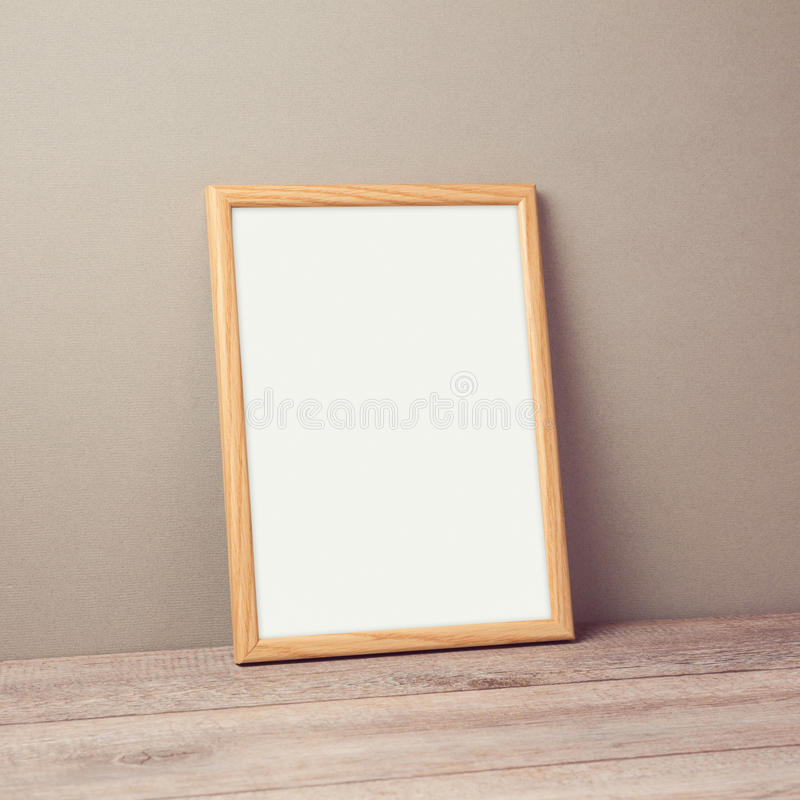Wooden Poster Frame Mock Up Template Over Wall Stock Image - Image ...