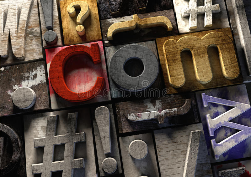 Wooden printing blocks form ulr .com concept for web domain name.  royalty free illustration