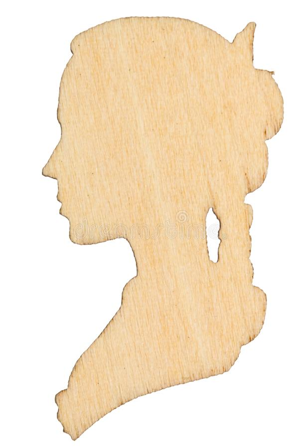 Wooden profile of female, decorative design element, isolated on royalty free stock photos