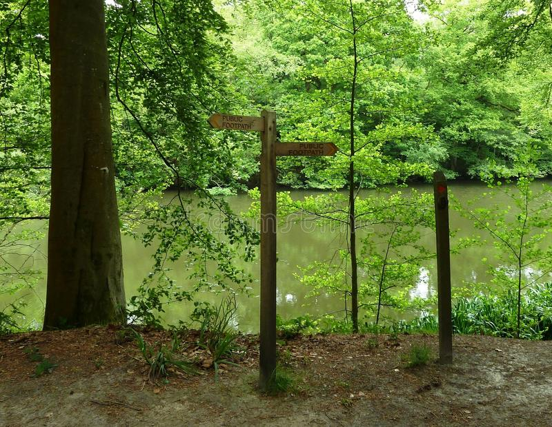 Wooden Public Footpath Sign by a forest lake royalty free stock photos