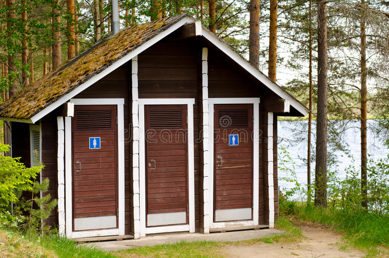 Wooden public toilet royalty free stock images